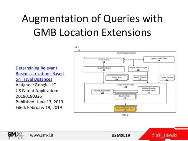 @bill_slawskiwww.smxl.it #SMXL19 Augmentation of Queries with GMB Location Extensions Determining Relevant Business Locati...