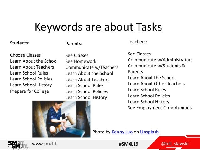 @bill_slawskiwww.smxl.it #SMXL19 Keywords are about Tasks Students: Choose Classes Learn About the School Learn About Teac...