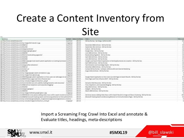 @bill_slawskiwww.smxl.it #SMXL19 Create a Content Inventory from Site Import a Screaming Frog Crawl Into Excel and annotat...