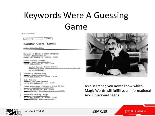 @bill_slawskiwww.smxl.it #SMXL19 Keywords Were A Guessing Game As a searcher, you never know which Magic Words will fulfil...
