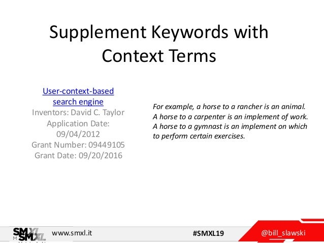 @bill_slawskiwww.smxl.it #SMXL19 Supplement Keywords with Context Terms User-context-based search engine Inventors: David ...