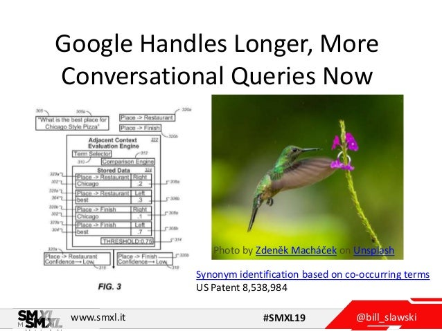 @bill_slawskiwww.smxl.it #SMXL19 Google Handles Longer, More Conversational Queries Now Photo by Zdeněk Macháček on Unspla...