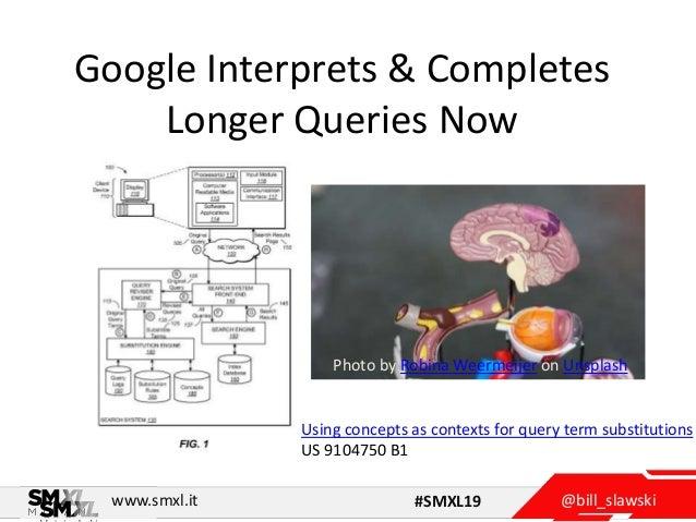 @bill_slawskiwww.smxl.it #SMXL19 Google Interprets & Completes Longer Queries Now Photo by Robina Weermeijer on Unsplash U...