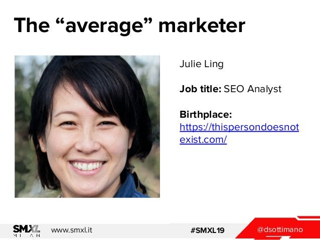 "@dsottimanowww.smxl.it #SMXL19 The ""average"" marketer Julie Ling Job title: SEO Analyst Birthplace: https://thispersondoes..."