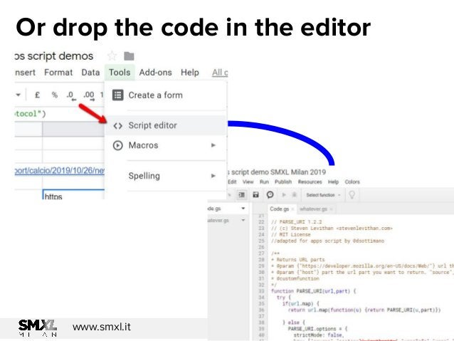 @dsottimanowww.smxl.it #SMXL19 @dsottimanowww.smxl.it #SMXL19 Or drop the code in the editor