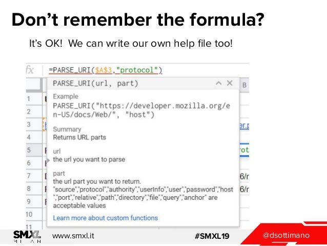 @dsottimanowww.smxl.it #SMXL19 Don't remember the formula? It's OK! We can write our own help file too!