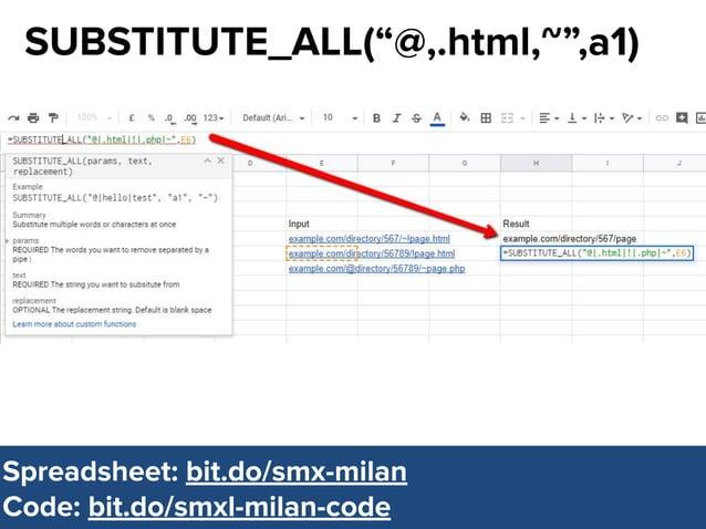 "@dsottimanowww.smxl.it #SMXL19 @dsottimanowww.smxl.it #SMXL19 SUBSTITUTE_ALL(""@,.html,~"",a1) Spreadsheet: bit.do/smx-milan..."