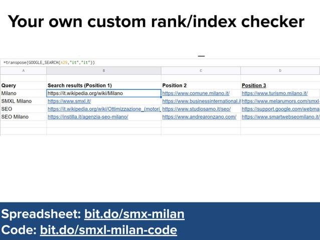 @dsottimanowww.smxl.it #SMXL19 @dsottimanowww.smxl.it #SMXL19 Your own custom rank/index checker Spreadsheet: bit.do/smx-m...