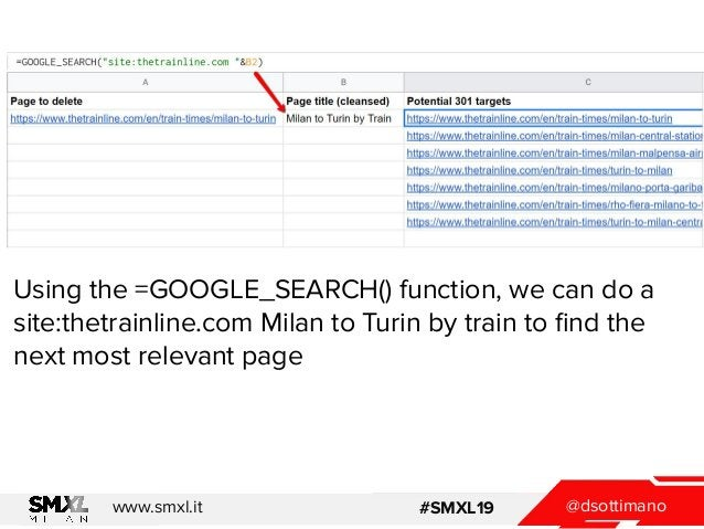 @dsottimanowww.smxl.it #SMXL19 Using the =GOOGLE_SEARCH() function, we can do a site:thetrainline.com Milan to Turin by tr...
