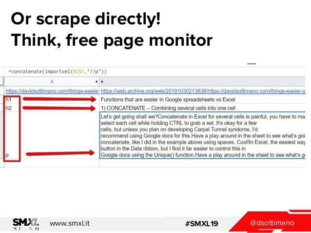 @dsottimanowww.smxl.it #SMXL19 Or scrape directly! Think, free page monitor