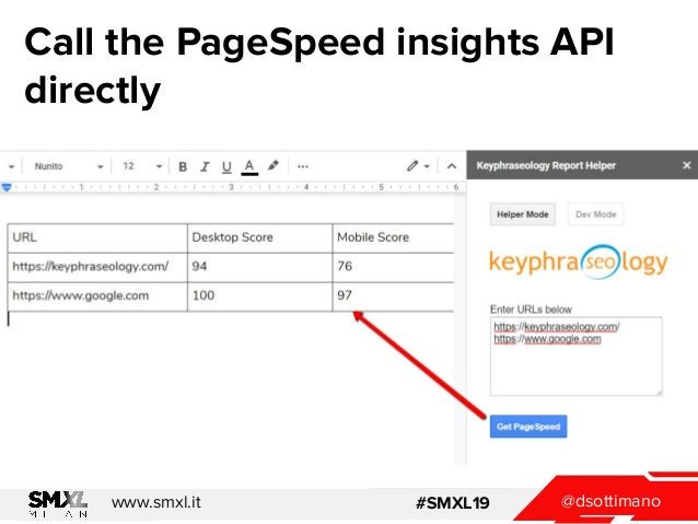 @dsottimanowww.smxl.it #SMXL19 Call the PageSpeed insights API directly
