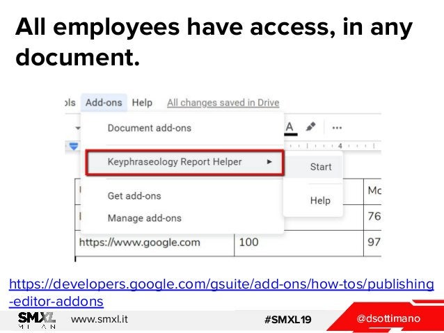 @dsottimanowww.smxl.it #SMXL19 @dsottimano All employees have access, in any document. https://developers.google.com/gsuit...