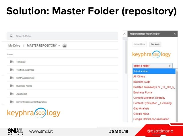 @dsottimanowww.smxl.it #SMXL19 @dsottimanowww.smxl.it #SMXL19 Solution: Master Folder (repository)