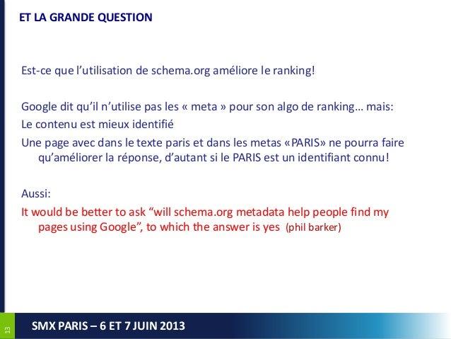 1313SMX PARIS – 6 ET 7 JUIN 2013ET LA GRANDE QUESTIONEst-ce que l'utilisation de schema.org améliore le ranking!Google dit...
