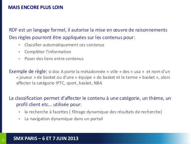 1414SMX PARIS – 6 ET 7 JUIN 2013MAIS ENCORE PLUS LOINRDF est un langage formel, il autorise la mise en œuvre de raisonneme...