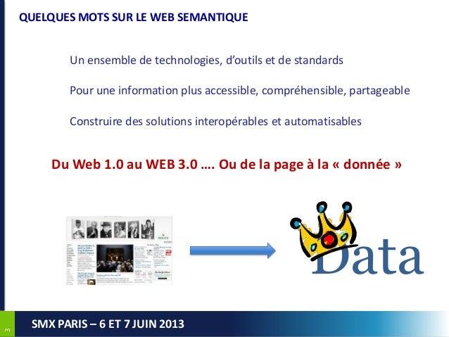 33SMX PARIS – 6 ET 7 JUIN 2013QUELQUES MOTS SUR LE WEB SEMANTIQUEUn ensemble de technologies, d'outils et de standardsPour...