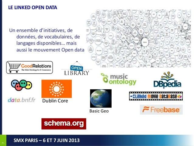 77SMX PARIS – 6 ET 7 JUIN 2013LE LINKED OPEN DATAUn ensemble d'initiatives, dedonnées, de vocabulaires, delangages disponi...