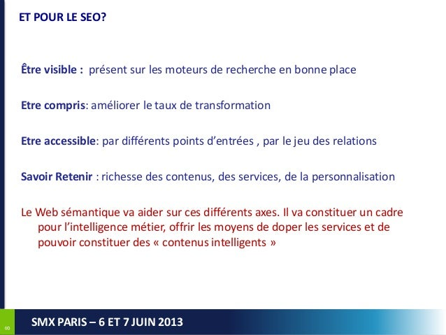 88SMX PARIS – 6 ET 7 JUIN 2013ET POUR LE SEO?Être visible : présent sur les moteurs de recherche en bonne placeEtre compri...