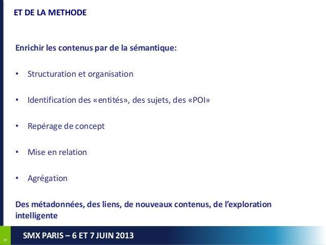 99SMX PARIS – 6 ET 7 JUIN 2013ET DE LA METHODEEnrichir les contenus par de la sémantique:• Structuration et organisation• ...