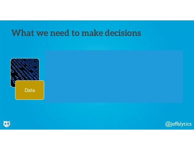 @jeffalytics Data Information Knowledge Wisdom What we need to make decisions