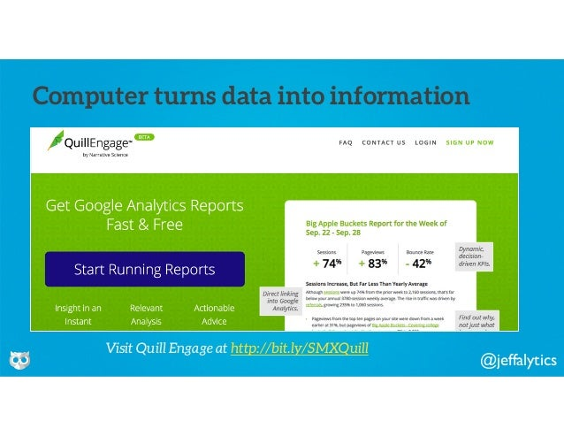 @jeffalytics Computer turns data into information Visit Quill Engage at http://bit.ly/SMXQuill
