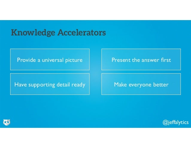 @jeffalytics Provide a universal picture Knowledge Accelerators Present the answer first Have supporting detail ready Make ...