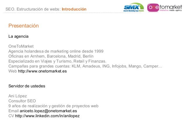 Smx madrid seo estructuraci n e indexaci n de sitios web for Oficinas ing barcelona