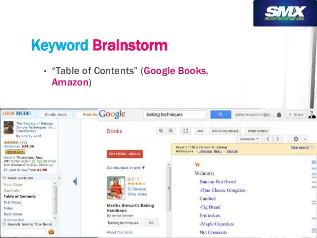 "Keyword Brainstorm  • ""Table of Contents"" (Google Books,  Amazon)"