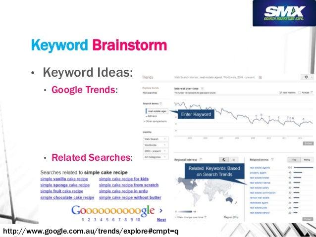 Keyword Brainstorm  • Keyword Ideas:  • Google Trends:  • Related Searches:  http://www.google.com.au/trends/explore#cmpt=...