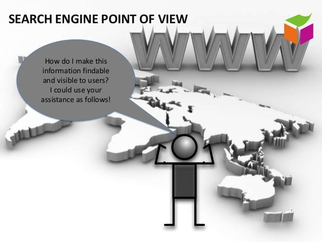 SEARCH ENGINE POINT OF VIEW     How do I make this    information findable    and visible to users?       I could use your...