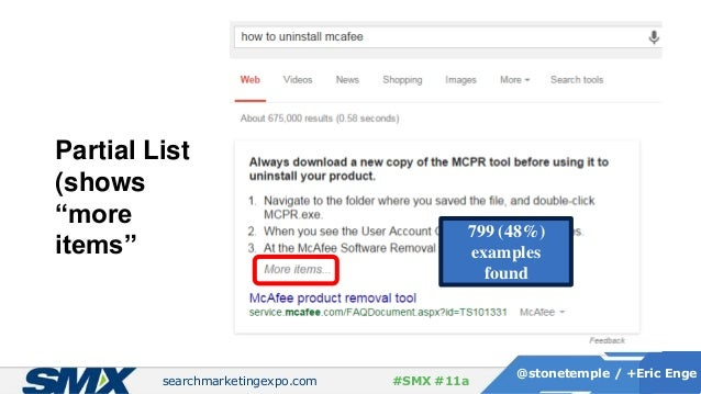 """searchmarketingexpo.com @stonetemple / +Eric Enge #SMX #11a Partial List (shows """"more items"""" 799 (48%) examples found"""
