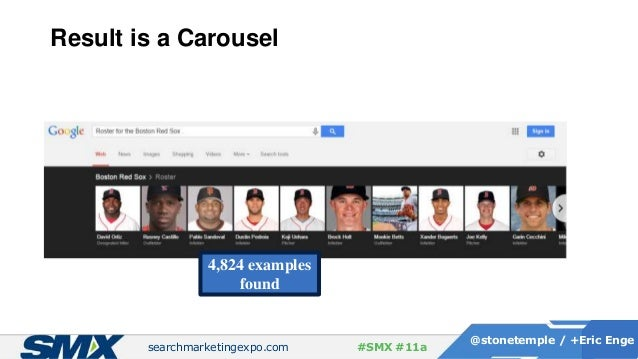 searchmarketingexpo.com @stonetemple / +Eric Enge #SMX #11a Result is a Carousel 4,824 examples found