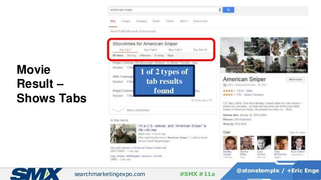 searchmarketingexpo.com @stonetemple / +Eric Enge #SMX #11a Movie Result – Shows Tabs 1 of 2 types of tab results found