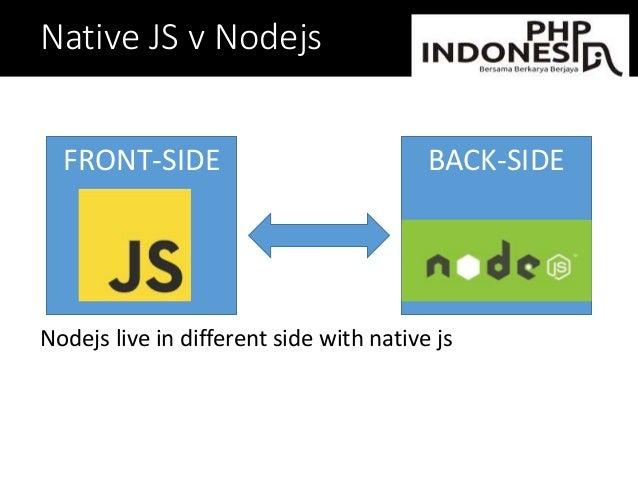 Native JS v Nodejs Nodejs live in different side with native js FRONT-SIDE BACK-SIDE