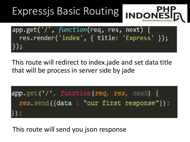Expressjs Basic Routing This route will redirect to index.jade and set data title that will be process in server side by j...