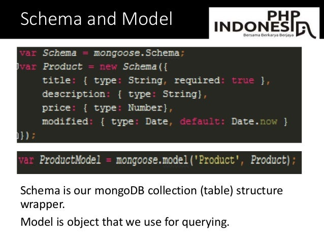 Schema and Model Schema is our mongoDB collection (table) structure wrapper. Model is object that we use for querying.