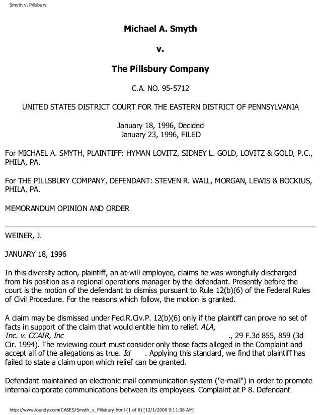 Smyth v. Pillsbury Michael A. Smyth v. The Pillsbury Company C.A. NO. 95-5712 UNITED STATES DISTRICT COURT FOR THE EASTERN...