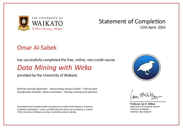 Online Certificate Data Mining with Weka