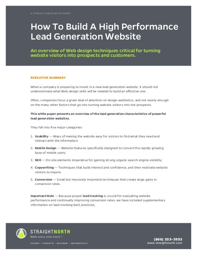 A STRIAGHT NORTH WHITEPAPER	 1 EXECUTIVE SUMMARY When a company is preparing to invest in a new lead generation website, i...