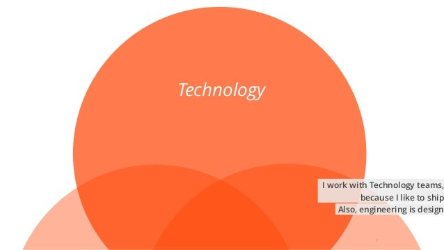 7 Technology I work with Technology teams, because I like to ship Also, engineering is design