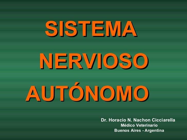 SISTEMA  NERVIOSO AUTÓNOMO   Dr. Horacio N. Nachon Cicciarella Médico Veterinario Buenos Aires - Argentina