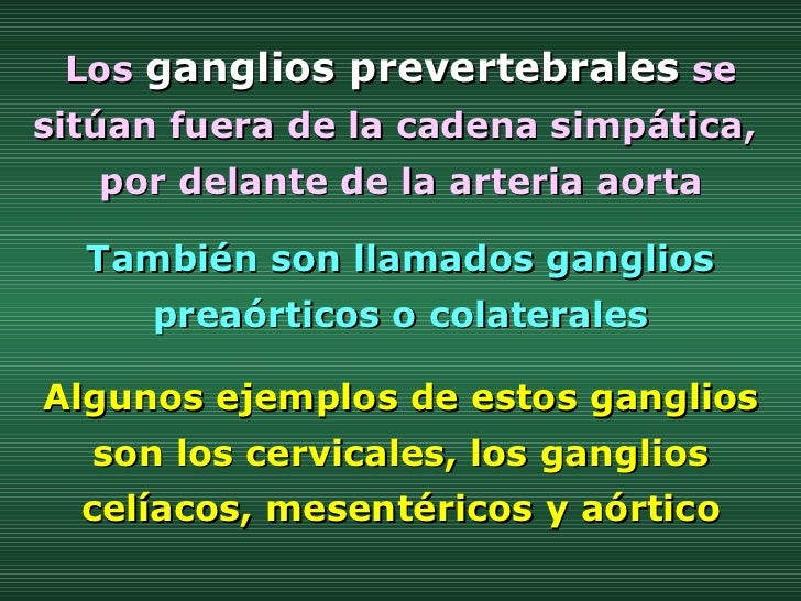 También son llamados ganglios preaórticos o colaterales Los   ganglios prevertebrales   se sitúan fuera de la cadena simpá...