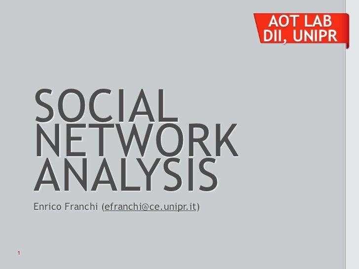 AOT LAB                                            DII, UNIPR    SOCIAL    NETWORK    ANALYSIS    Enrico Franchi (efranchi...