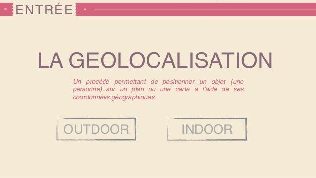 ENTRÉE LA GEOLOCALISATION Un procédé permettant de positionner un objet (une personne) sur un plan ou une carte à l'aide d...