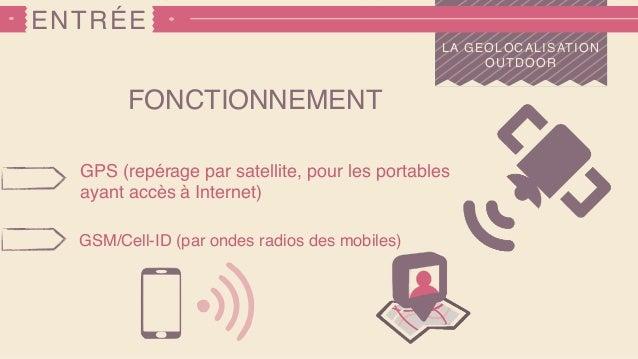 ENTRÉE LA GEOLOCALISATION OUTDOOR FONCTIONNEMENT GPS (repérage par satellite, pour les portables ayant accès à Internet) G...