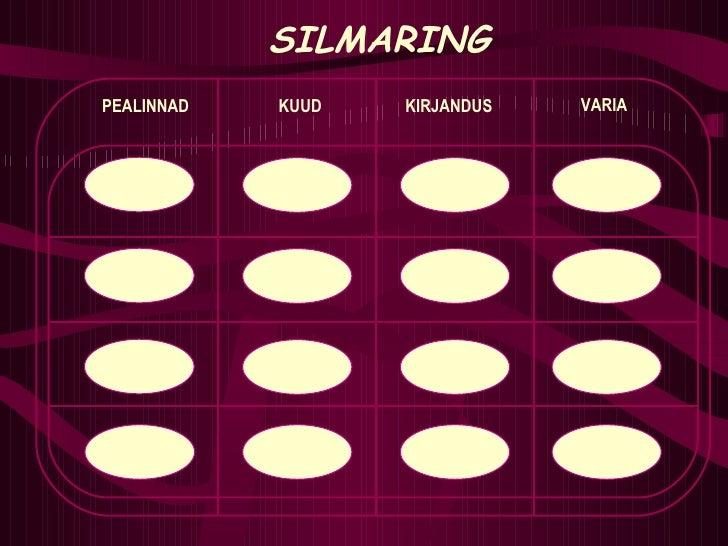 1 2 5 10 SILMARING PEALINNAD KUUD KIRJANDUS VARIA 1 2 5 10 1 2 5 10 1 2 5 10