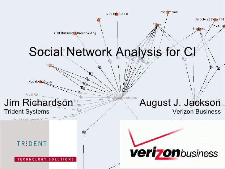 Social Network Analysis for CI Jim Richardson Trident Systems August J. Jackson Verizon Business