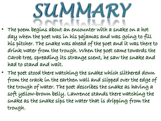 snake by d h lawrence