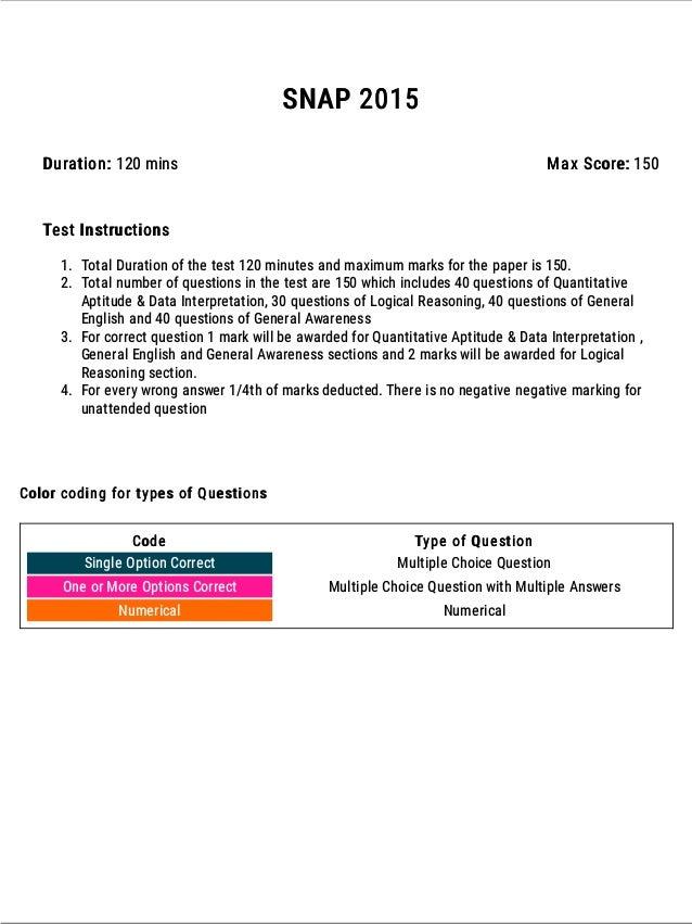 SNAP 2015 Question Paper ATTEMPT ONLINE: https://www.exambazaar.com/assessment/snap-2015 2 Attempt all SNAP previous year ...