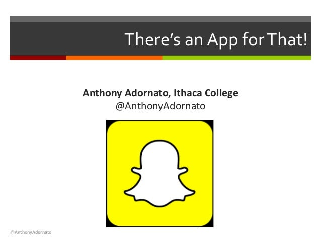 There's an App forThat! Anthony Adornato, Ithaca College @AnthonyAdornato @AnthonyAdornato